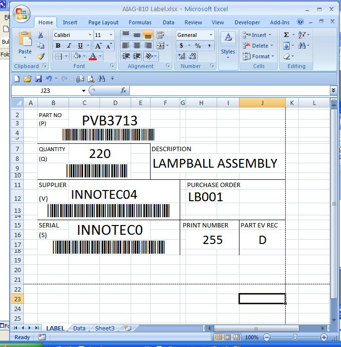 Barcode for Excel template for labels